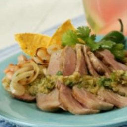 Grilled Tenderloin with Cumin, Green Tomatillos and Onion Salsa