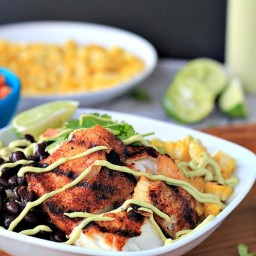 Grilled Tilapia Bowls with Chipotle Avocado Crema