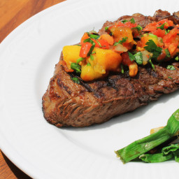 Grilled Tip Sirloin Steak with Mango Salsa
