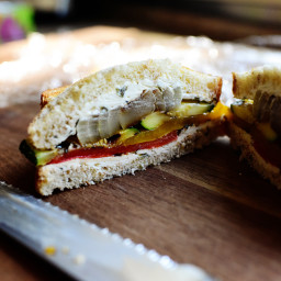 Grilled Veggie and Cream Cheese Sandwich