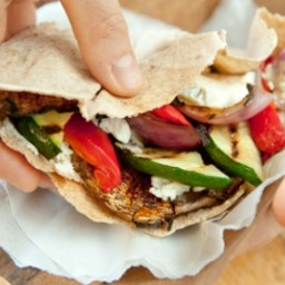 Grilled Veggie and Goat Cheese Pitas