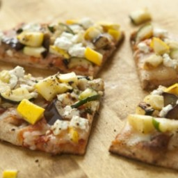 Grilled Veggie Naan Pizzas with Goat Cheese