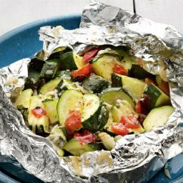 Grilled Zucchini and Tomatoes in Foil