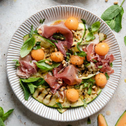 Grilled Zucchini Salad with Melon & Prosciutto