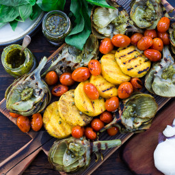 Grilled Artichokes and Polenta w/ Blistered Tomatoes and Pesto
