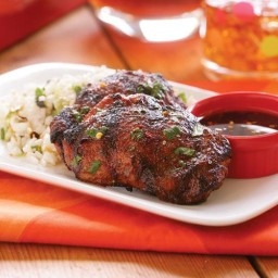 Grilled Five-Spice Chicken Thighs with Soy-Vinegar Sauce  and  Cilantro