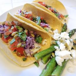 Grilled Halibut Fish Tacos with Cabbage Slaw & Pico de Gallo