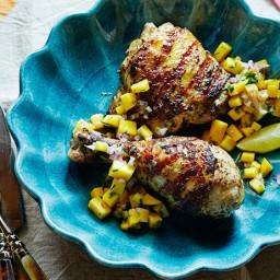 Grilled Jerk Chicken with Mango Cilantro Salsa