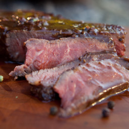 Grilled New York Strip Steak with Five-Peppercorn Sauce