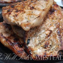Grilled Pork Chops with Mushroom Sauce