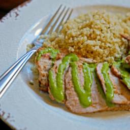 Grilled Pork Tenderloin with Blended Chimichurri Sauce
