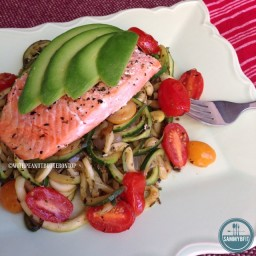 Grilled Salmon with Pesto Zoodles