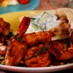 Grilled Shrimp Skewers with Cilantro-Mint Chutney