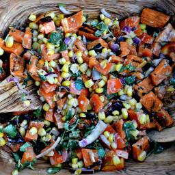 Grilled Sweet Potato Salad with Smoked Tomato Vinaigrette