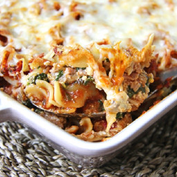 Ground Chicken and Spinach Noodle Bake
