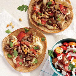 Ground Lamb and Hummus Pita Pizzas