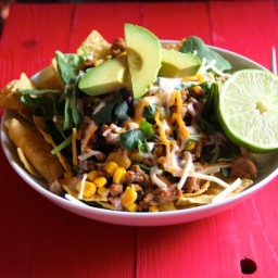 Ground Turkey Taco Salad with Corn and Black Beans