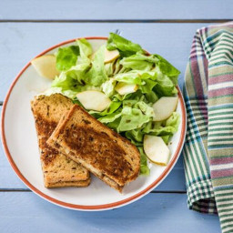 Gruyere, Pear, and Caramelized Onion Grilled Cheese with Butter Lettuce and