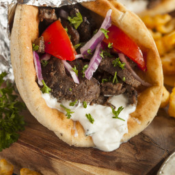 Gyro Beef Brisket Sandwich with Lemon-Feta Tzatziki