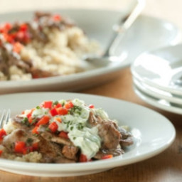 Gyro-Style Lamb with Cucumber-Yogurt Sauce over Quinoa
