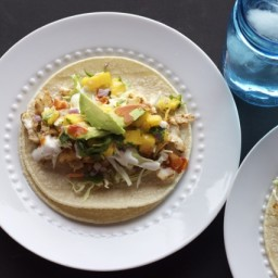 Halibut Tacos with Mango Salsa and Lime Crema