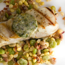 Halibut with Orange-Parsley Butter and Succotash