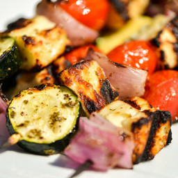 Halloumi and Vegetable Skewers
