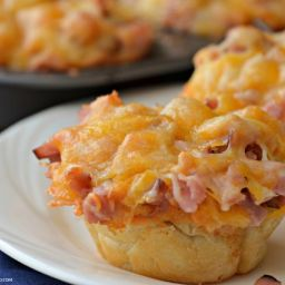Ham and Cheese Muffins with Yeast Rolls