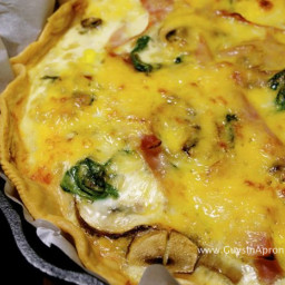 Ham, Cheese, Mushroom and Spinach Egg Pie