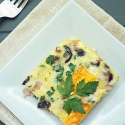 Ham, Cheese & Mushroom Frittata (Low Carb & Gluten Free)