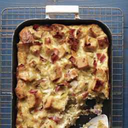 Ham, Leek, and Cheese Bread Pudding
