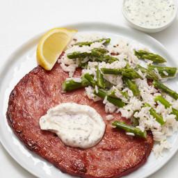 Ham Steaks with Asparagus-Rice Salad