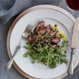 Hanger Steak with Herb-Nut Salsa