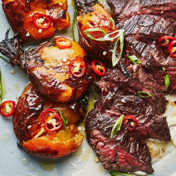 Hanger Steak with Tahini and Smashed Charred Beets