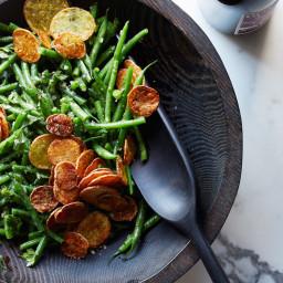 Haricots Verts Salad with Crispy Potato Chips
