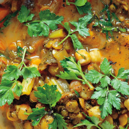 Harira (Spiced Moroccan Vegetable Soup with Chickpeas, Cilantro, and Lemon)