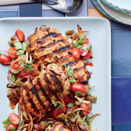 Harissa Chicken with Green-Chile-and-Tomato Salad