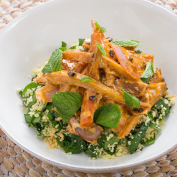 Harissa-Glazed Heirloom Carrot Saladwith Date Molasses and Spinach-Almond C