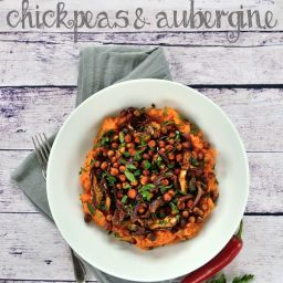 Harissa Roasted Chickpeas and Aubergine with Sweet Potato Mash
