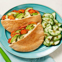 Harissa Sweet Potato Pockets with Cucumber Dill Salad