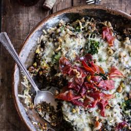 Harissa Broccoli, Spinach and Wild Rice Casserole with Crispy Prosciutto