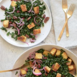 Harvest Kale Salad with Cornbread Croutons Recipe