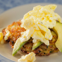 Hash Browns with Cheesy Eggs and Avocado