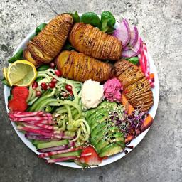 Hasselback Potatoes Rainbow Beet Bowl