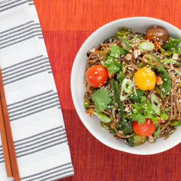 Hatcho Miso Soba Noodleswith Roasted Cherry Tomatoes and Candied Cashews