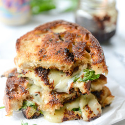 Havarti and Arugula Grilled Cheese with Smoky Bacon Jam and Herb Butter