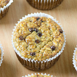 Healthy Banana Oat Greek Yogurt Muffins with Chocolate Chips Recipe