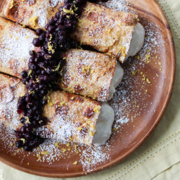 Healthy Cheesecake Stuffed French Toast Crepes with Vanilla Berry Compote