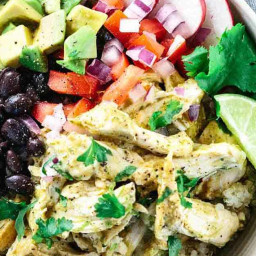 Healthy Chicken Tomatillo Quinoa Bowls