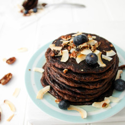 Healthy Chocolate Pecan Pancakes With Maple Syrup and Toasted Coconut